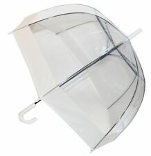 SOAKE Clear Dome Umbrella with Walking Stick Handle with White Trim Unisex