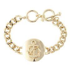 NEW Nautical Sailing Anchor Gold Tone Chain Chic Bracelet Boat Navy Summer Ahoy