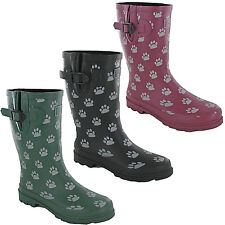 TOSH Wellingtons Short Calf Dog Paw Half Womens Rubber Wellies Boots UK 3-9