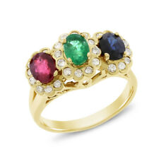 1.89 Ct. Natural Sapphire, Emerald, Ruby & Diamond Cocktail Ring Solid 14k Gold