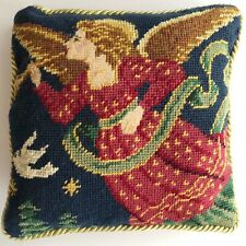 New listing Vintage Christmas Wool Needlepoint Petit Point Throw Pillow Angel Dove 9x9
