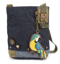 Chala Purse Handbag Denim Canvas Crossbody With Key Chain Tote  Blue Parrot Bird
