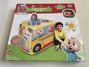 Cocomelon Musical Yellow School Bus Pop Up Tent Imaginary Play For Kids New