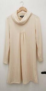 Studio Cream Soft Roll Neck Fine Knit Jumper Dress Size 12/14