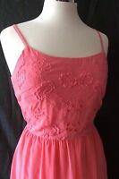 Ladies Womens Coral Pink Floral Print Embellished Long Maxi Dresses Size 12