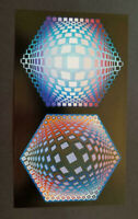 """Victor Vasarely """"TEGLA-HAT-2"""" Mounted Offset Color Lithograph 1974"""