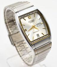 Citizen Quartz Day Date Silver Tone Rectangle Crystal Dial Analog Men Watch 061M