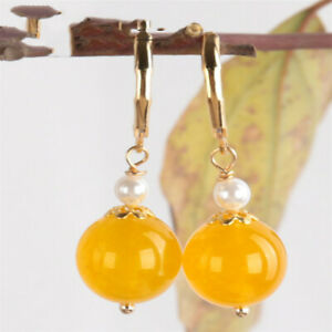 Yellow chalcedony pearl Earring 18KGP Dangle Holiday gifts Cultured Real Wedding