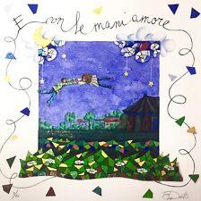 """ELISA DONETTI 45x45 giclée serigrafia su carta """" E con le mani amore """""""