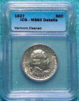 1927 MS-60 Details Vermont Uncirculated Unc Commemorative Silver