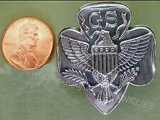 Beautiful NECKERCHIEF SLIDE 1940s Girl Scout EUC Metal Eagle Logo FREE SHIP