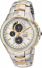 New Seiko Solar Coutura Chronograph Two Tone Stainless Steel Men's Watch SSC560