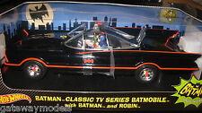 HOT WHEELS 1:18 CLASSIC TV SERIES BATMOBILE WITH BATMAN ROBIN FIGURINES AWESOME