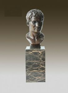 Bronze Sculpture Of Augustus Bust On Marble Base, Art,  Gift, Bookend