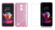 PINK S-LINE TPU CASE+ CLEAR TEMPERED GLASS SCREEN PROTECTOR FOR LG K10 2018
