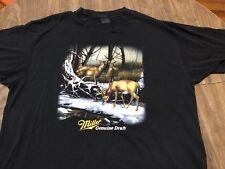 True Vintage 3D Emblem Miller Genuine Draft Beer 2XL Black T Shirt Also Fits XL
