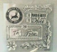 Sizzix Clear Rubber Stamp  8 Stamps Christmas Theme