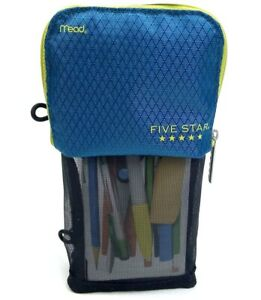 Mead Five Star Stand 'N Store Pencil Pouch Case (Fits 3 Ring Binder) Blue Yellow