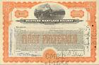 Western Maryland Railway   1950s railroad stock certificate orange share