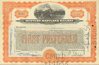 Western Maryland Railway > 1950s railroad stock certificate orange share
