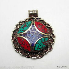 PD-64 Handmade Nepal Tibetan Metal Pendant  Inlaid with Turquoise, Coral & Lapis