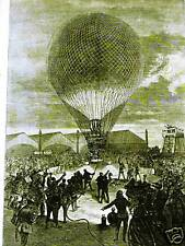 POST BALLOON DEPARTS FROM PARIS 1871 Art Print Matted