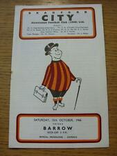 15/10/1966 Bradford City v Barrow  (Rusty Staple/Mark). Item In very good condit