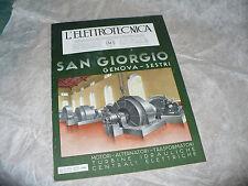 RIVISTA L'ELETTROTECNICA AEI N.12 6/1940 COPERT.SAN GIORGIO MOTORI ALTERNATORI