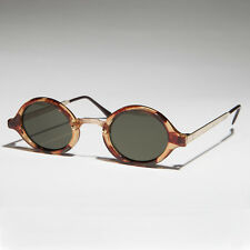 Art Deco Oval Sunglasses with Embossed Metal Temples Tortoise/Gold/Green- Degas