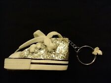 Silver Glitter Shoe Keychain White Shoe Laces Key Ring Converse Style Bag Tag