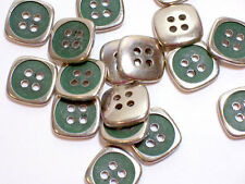 """Silvertone and Green Metal Coated Plastic Buttons 5/8"""" (15 mm) diameter x 25 pcs"""