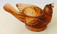 """Degenhart Art Glass Dark Amber Bird Berry Cherry Vintage Salt Cellar 1.75"""" tall"""