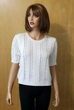 WOMEN'S ANTHROPOLOGIE SANCTUARY IVORY CROP SWEATER TOP ~ Large