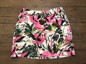 Loudmouth Ladies Women's Pink Flamingo Tropical Palm Golf Skort Skirt (Size 2)