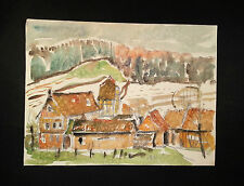 Delizioso acquerello dipinto Förder villaggio di Karl Bopp, Francoforte