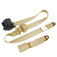 Beige 3 Point Car Front Seat Belt Buckle Kit Automatic Retractable Safety Straps