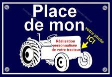plaque personnalisée  PLACE DE MON TRACTEUR FENDT d'après votre photo