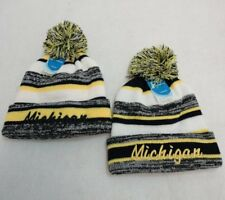 24 PC Lot MICHIGAN Embroidered Beanie PomPom Winter Toboggan Hats w/ Stripes