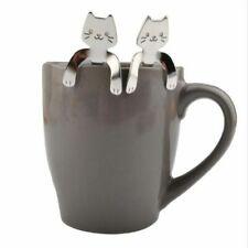 Stainless Steel Cute Cat Coffee Drink Spoon Tableware Supplies Kitchen D0N9