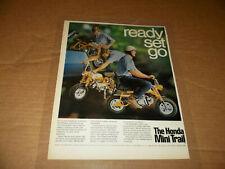 Honda 1969 KO Mini Trail Minibike Laminated Poster Ad 13 X 10 Inches Minitrail