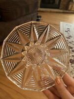 """Vintage Decorative Pressed Glass Candy Nut Dish or Bowl 6.5"""" Diameter"""
