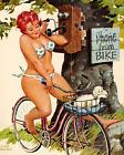 Print -  Duane Bryers' plump and pretty Pin-up Hilda - Phone from Bike