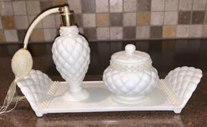 Vintage AVON White Milk Glass Atomizer Perfume Bottle Powder Jar Vanity Set