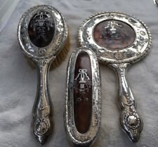 More details for solid silver and pique tortoiseshell vanity set hallmarked birmingham 1914