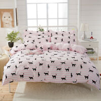 Kitten Striped Pink Bedding Cotton Duvet Doona Quilt Cover Set Single Queen King
