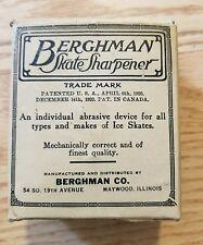ANTIQUE 1920'S BERGHMAN SKATE SHARPENER IN BOX, CLASSIC HOCKEY & ICE SKATING!