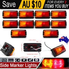 10x Red Amber 8 LED Side Clearance Marker Light Truck Trailer Lamp w/ Housing