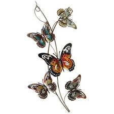 Metal Wall Art Decor Picture -Extra Large Colourful 5 Butterflies Branch 79 cm