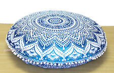 """New 32"""" Round Blue Ombre Floral Mandala Cushion Cover Floor Pillow Covers Throw"""