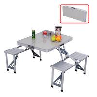 COSTWAY Outdoor Garden Aluminum Portable Folding Camping Picnic Table W/ 4 Seats